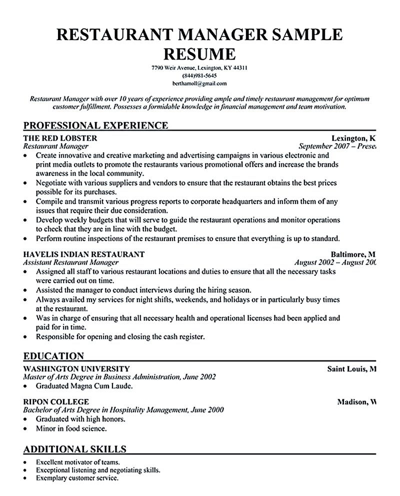 Assistant Restaurant Manager Resume  Restaurant Manager Resume Examples