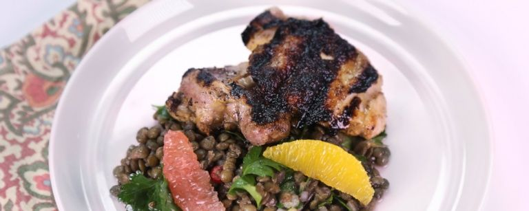Citrus-Marinated Chicken with Lentil-Herb Salad
