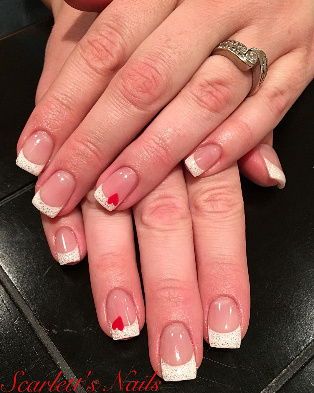 Light elegance diamond glitter French tip valentines gel nails ...
