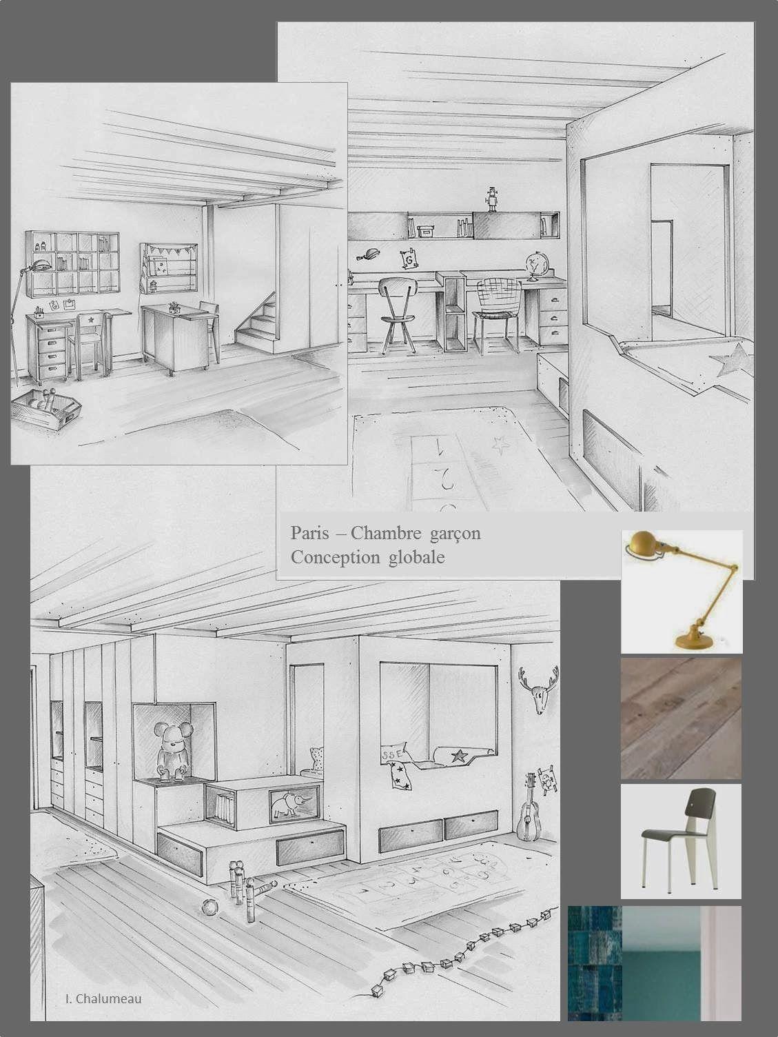 Chambre Garcon Esquisse Architecturale Maison Dessin Dessin Architecture