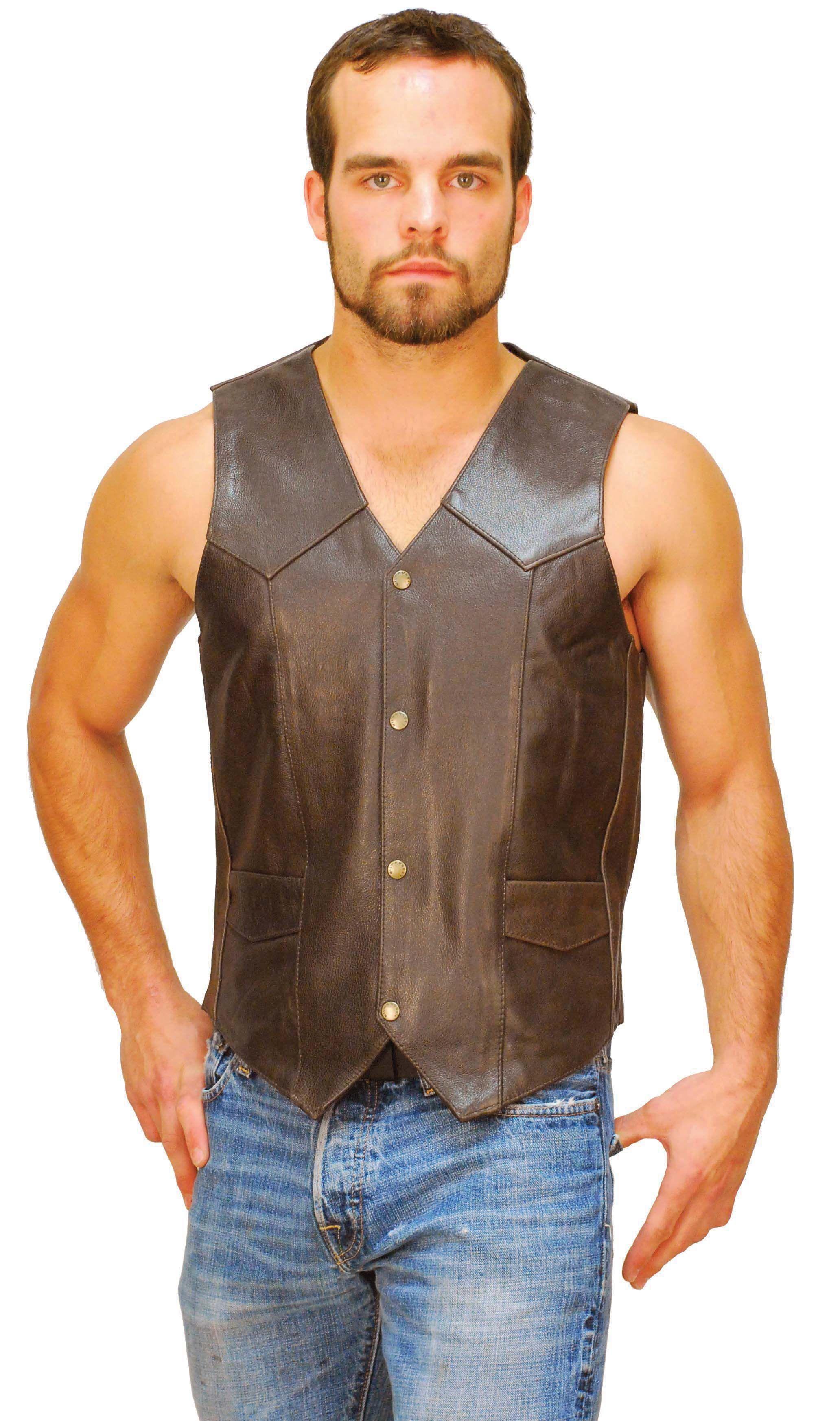 Dark Brown Leather Vest For Men Vm402rn Leather Vest Leather Waistcoat Dark Brown Leather