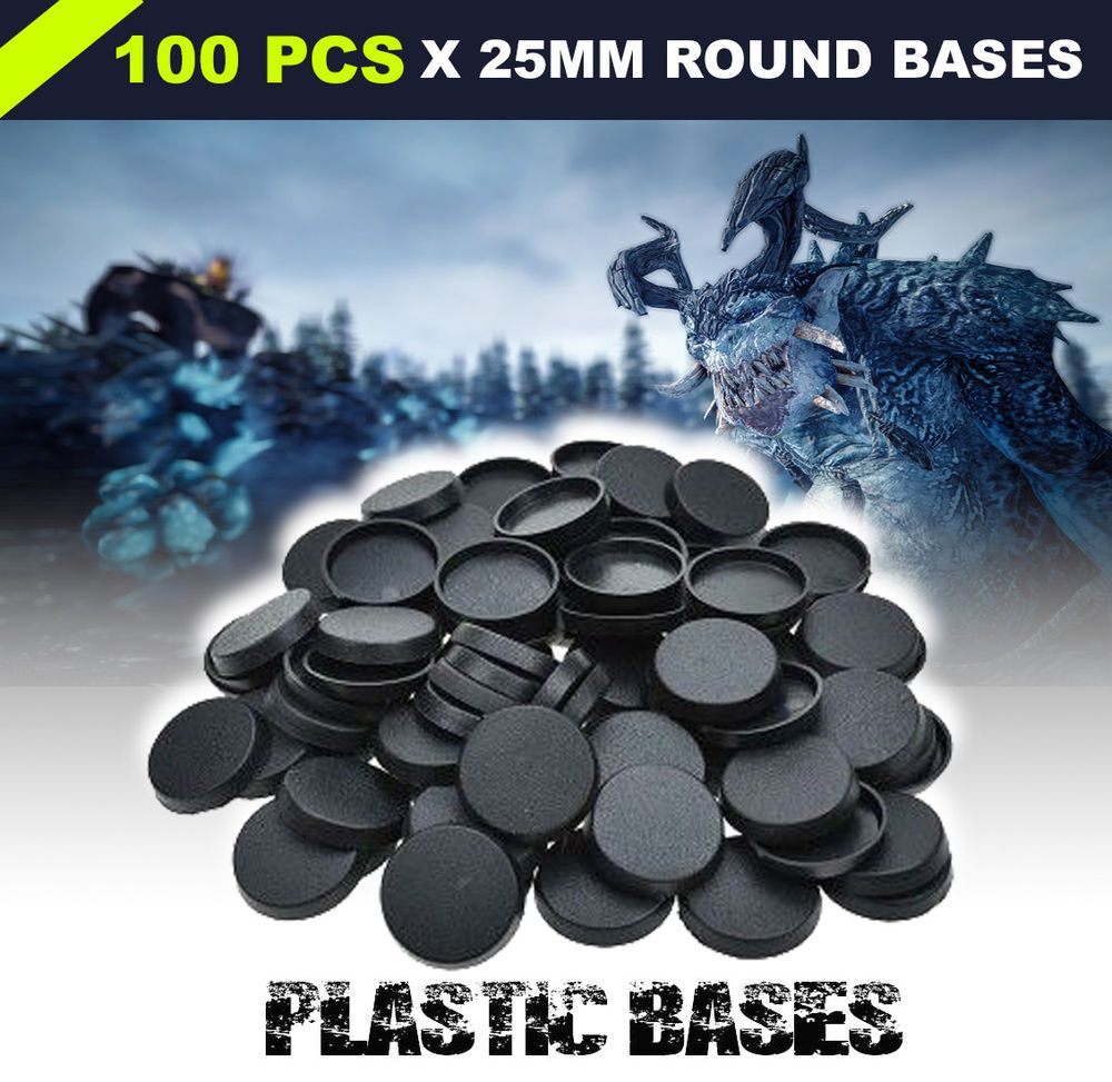 100pcs 25mm Round Plastic Bases For Gaming Miniatures Warhammer Table Games