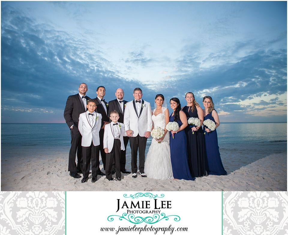 8th Avenue South | Naples Wedding Photographer | Jamie Lee Photography | Outdoor Portraits of Bridal Party at Beach Sunset | Black Tux Navy Blue Dress