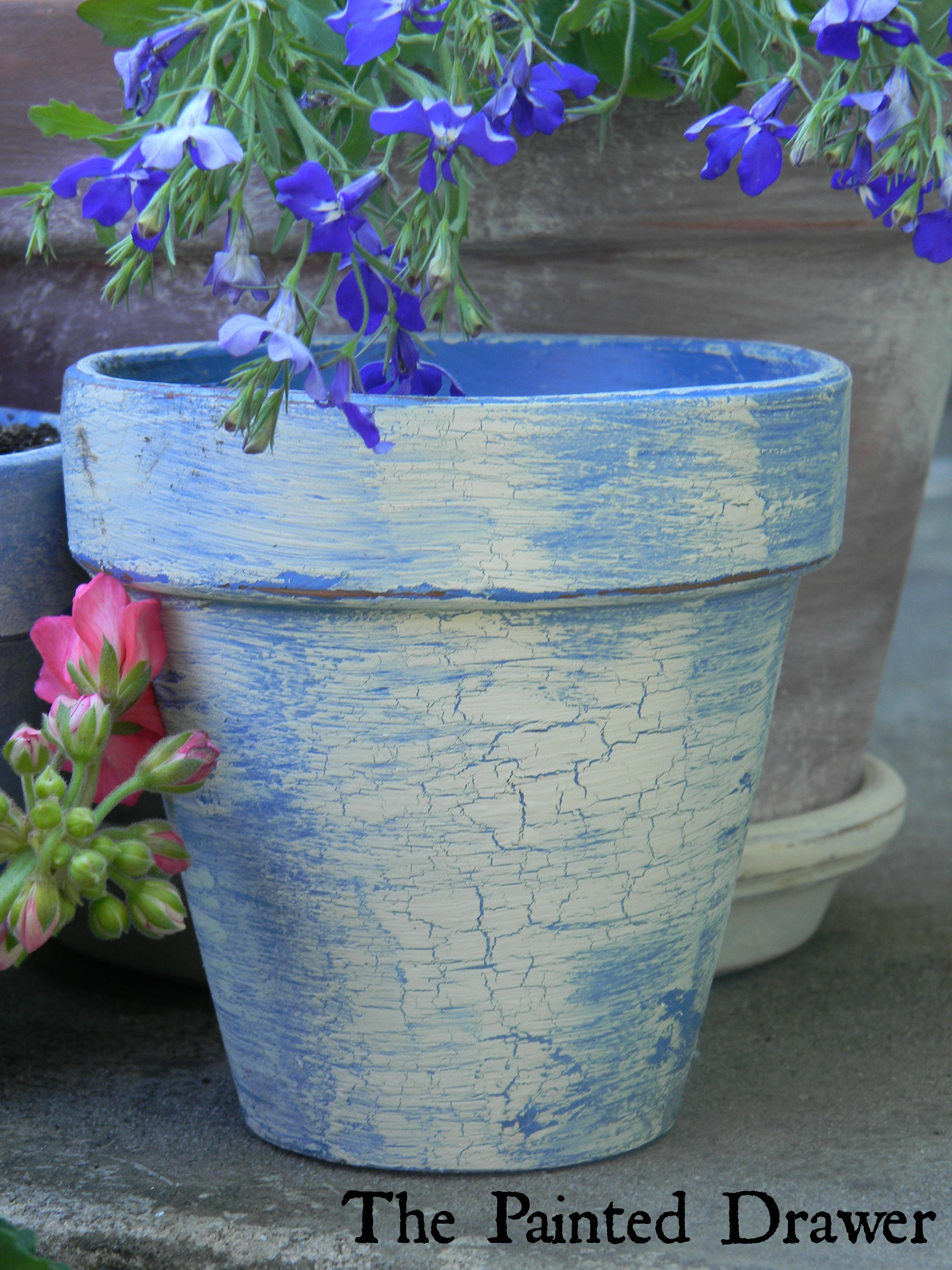 Painted French Country Blue Clay Flower Pot For The Garden