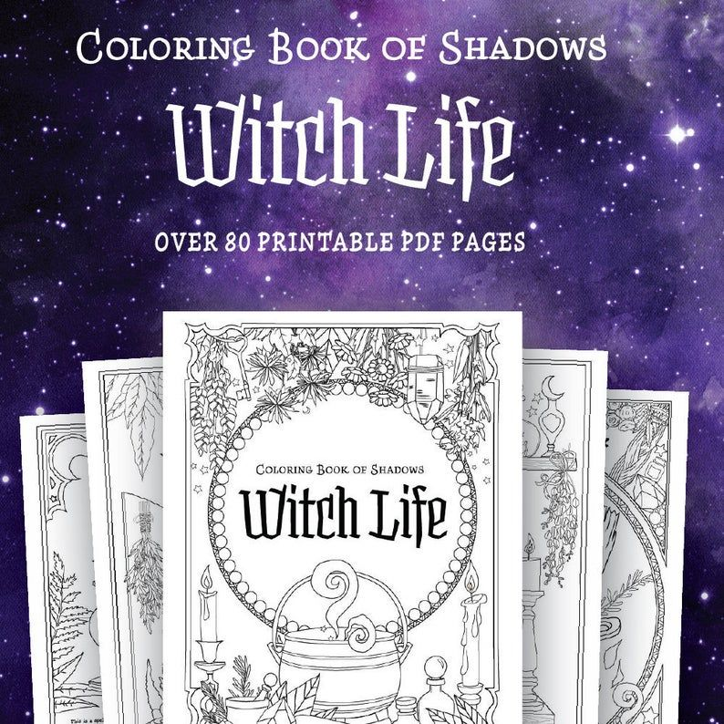 Coloring Book Of Shadows Witch Life Etsy In 2020 Book Of Shadows Coloring Books Witchcraft Books