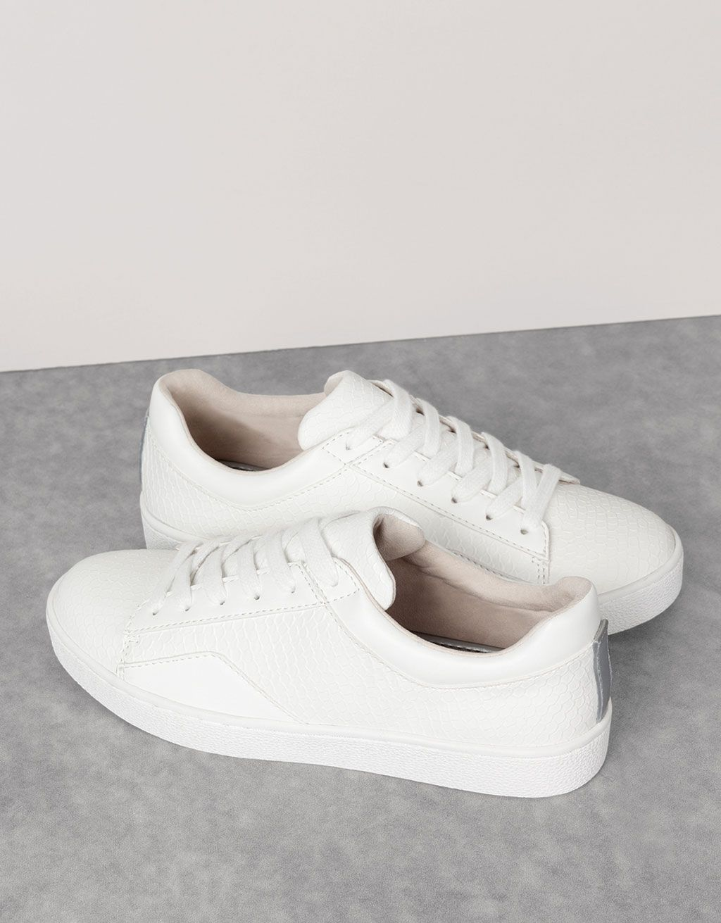 new products b4c75 d3781 Embossed single-colour sneakers - Trainers - Bershka Spain Adidas Stan Smith,  Woman Shoes