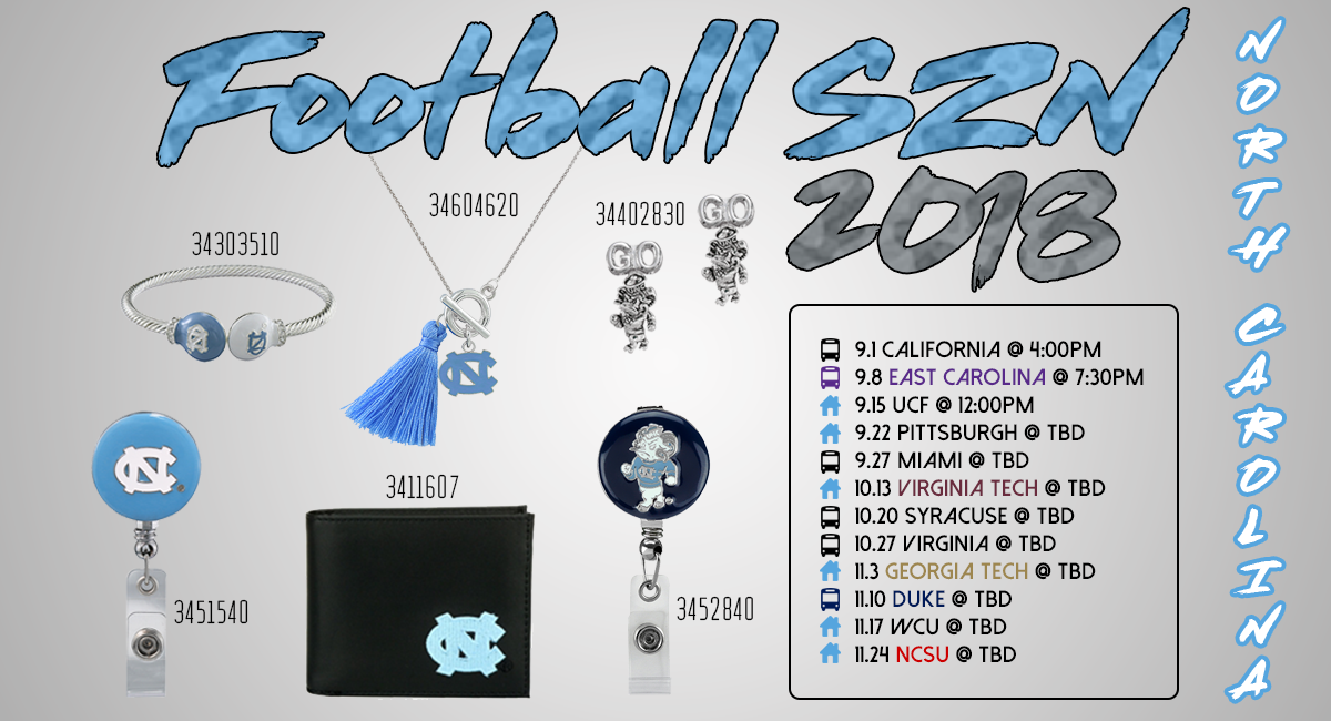 2018 Football Szn North Carolina Northcarolina Unc Northcarolinauniversity Universitynorthcaroli Collegiate Jewelry Unc Tarheels North Carolina Tar Heels