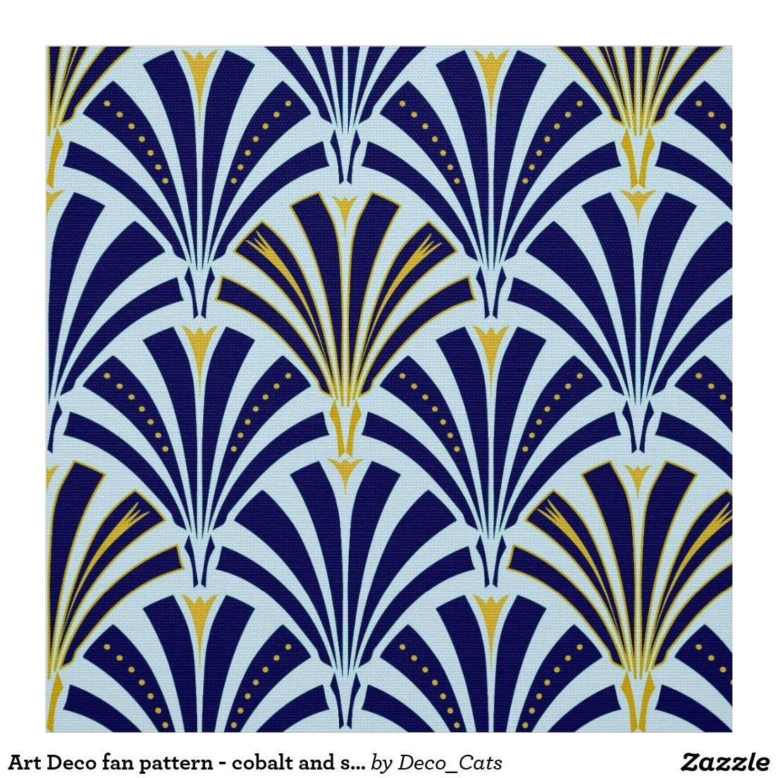 Art Deco fan pattern – cobalt and sky blue Fabric