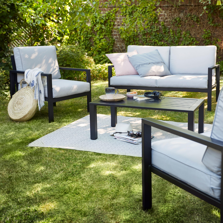 Salon Bas De Jardin Blooma Jaz Aluminium Gris 4 Personnes En 2020 Salon De Jardin Detente Salon De Jardin Mobilier Jardin