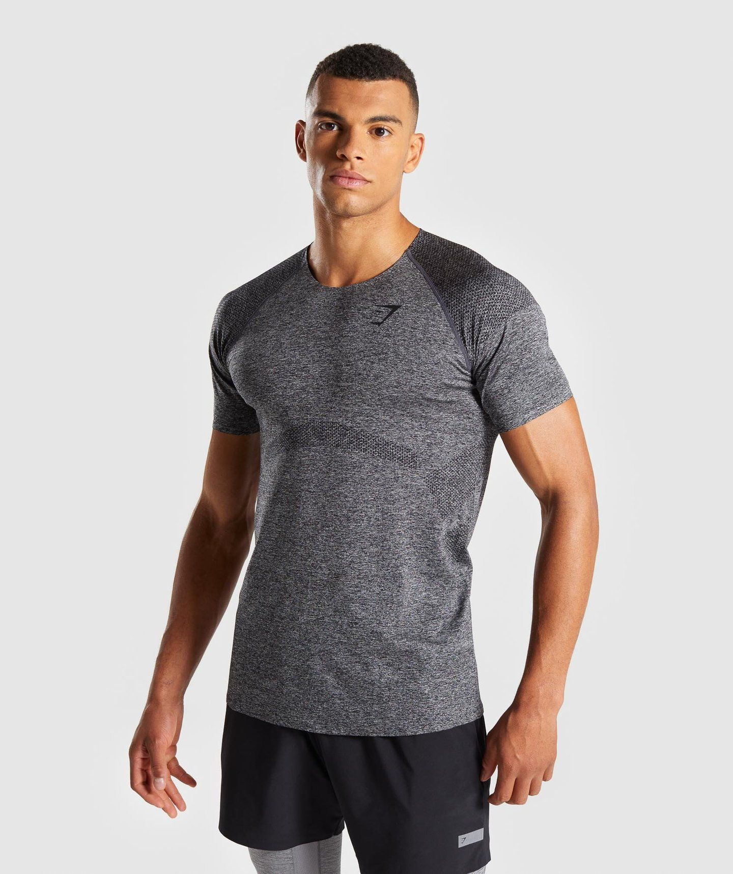 bc5c84b398acd Gymshark Shadow Seamless T-Shirt - Black Marl | Clothing | Shirts, T ...