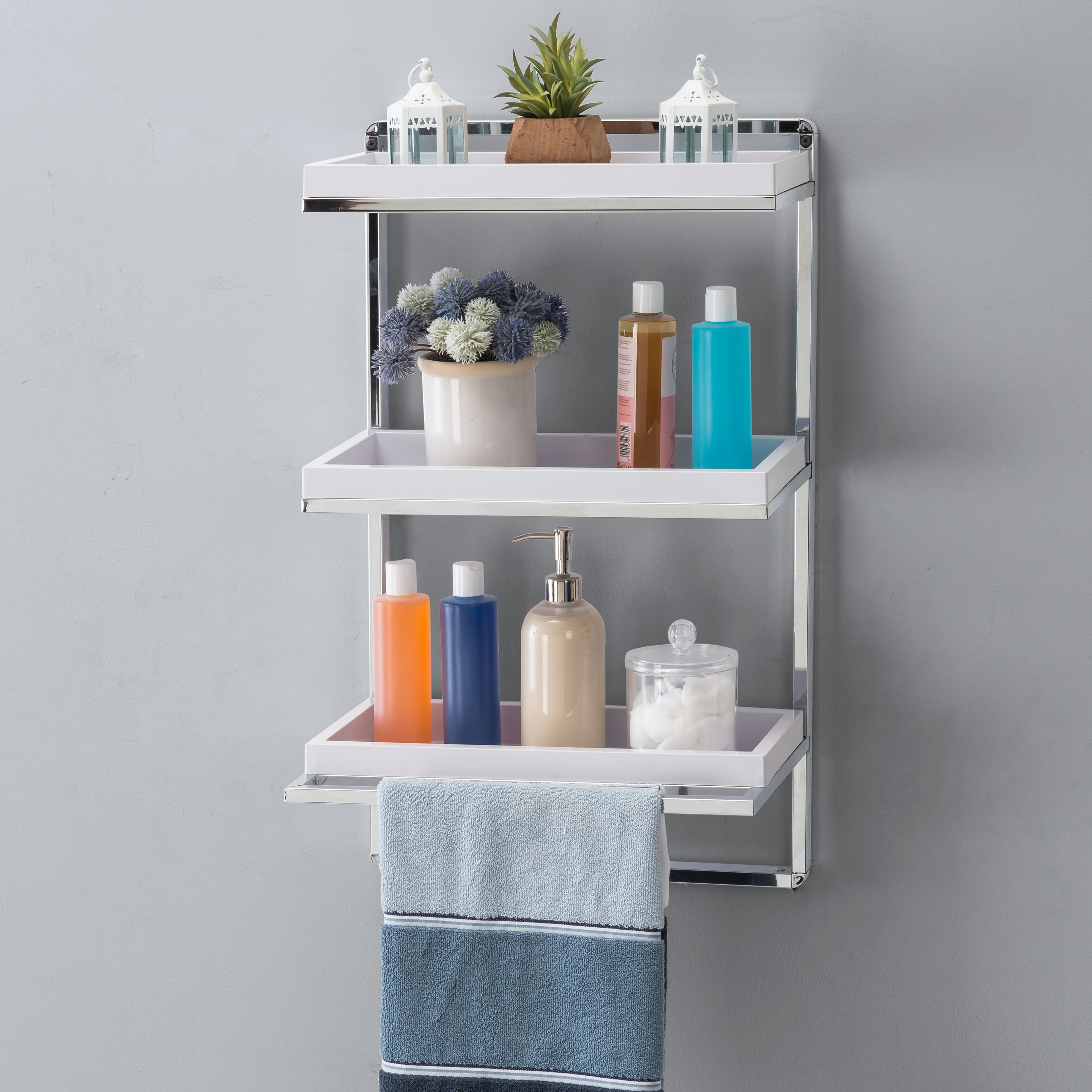 Wall Mount 3 Tier White And Chrome Bathroom Shelf With Towel Bar And Removable Trays Danya B In 2021 Chrome Bathroom Shelves Wall Mounted Bathroom Cabinets Bathroom Shelves
