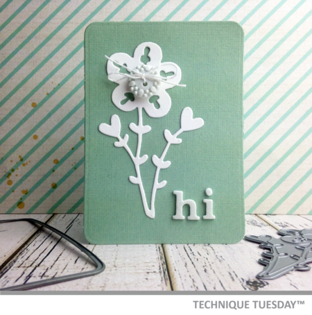 A pocket page-friendly Story Card created with steel dies from Technique Tuesday. Click on the photo for the how-to tutorial. This TechniqueTuesday.com Story Card would also look swell on a handmade card.
