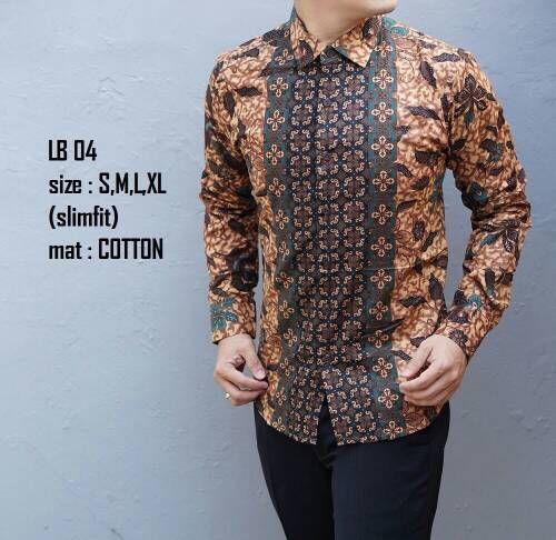 Dijual Baju Batik Pria Slim Fit Modern Lengan Panjang LB04 Murah Rp 150.000 694411f60d