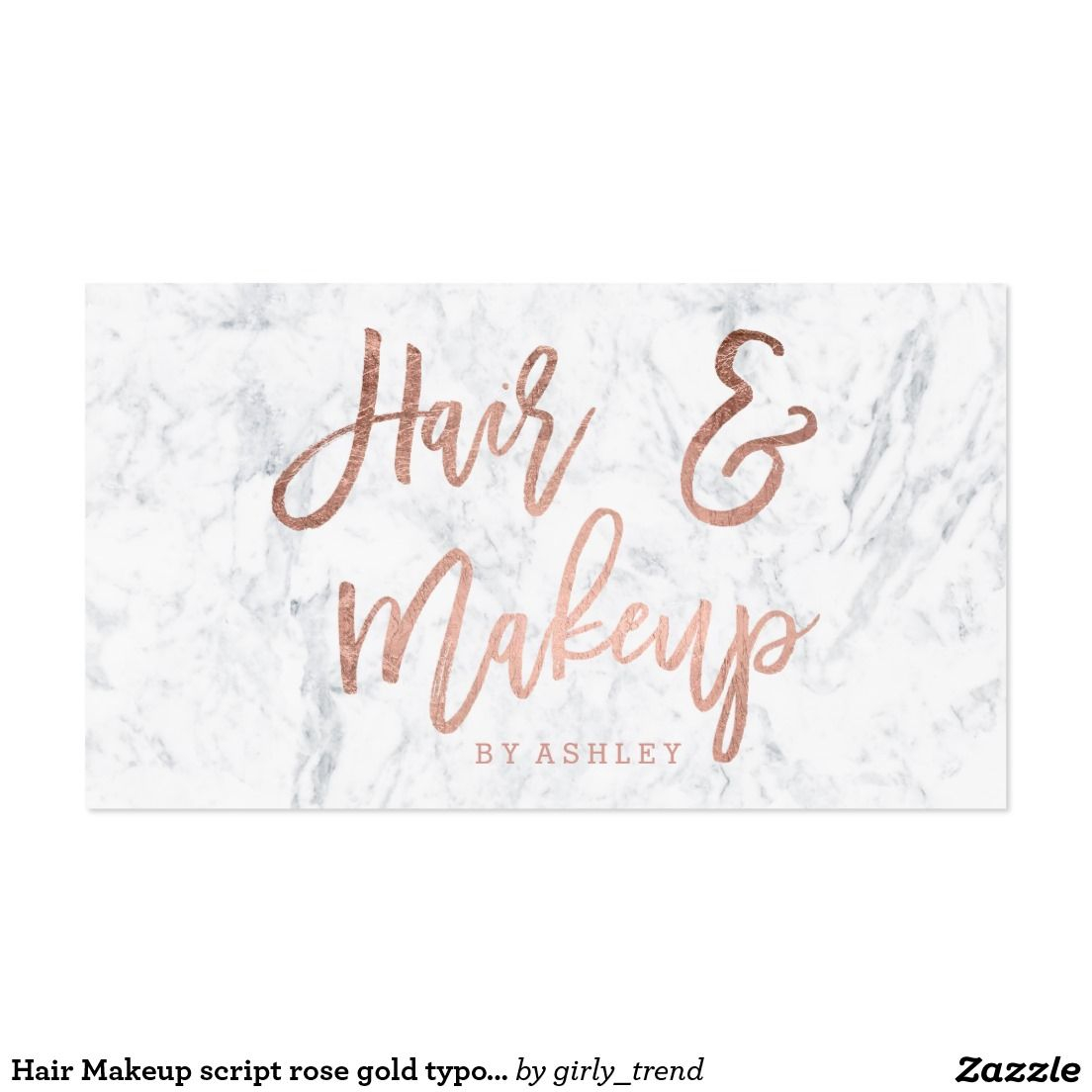 makeup artist elegant rose gold typography black business card