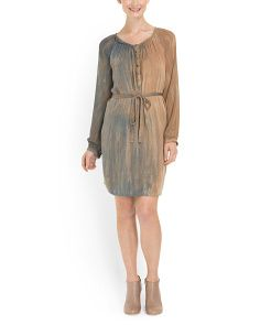 image of Silk Mini Dress With Self Tie