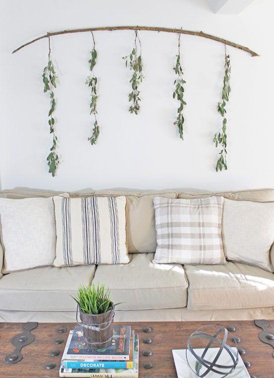 diy wall decor eucalyptus branch funky home decor diy on wall hangings id=27231