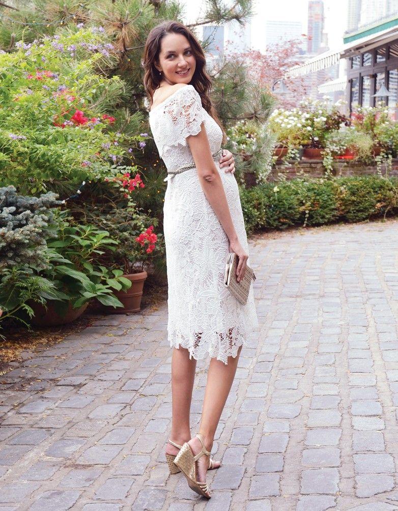 White Crochet Lace Maternity Dress Dressmaker White Lace