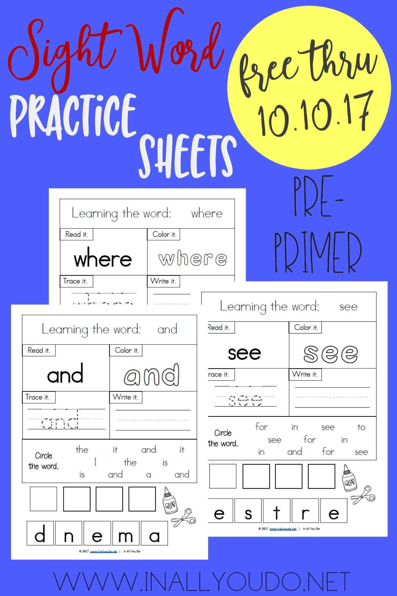 Limited Time Freebie Pre Primer Sight Words Practice