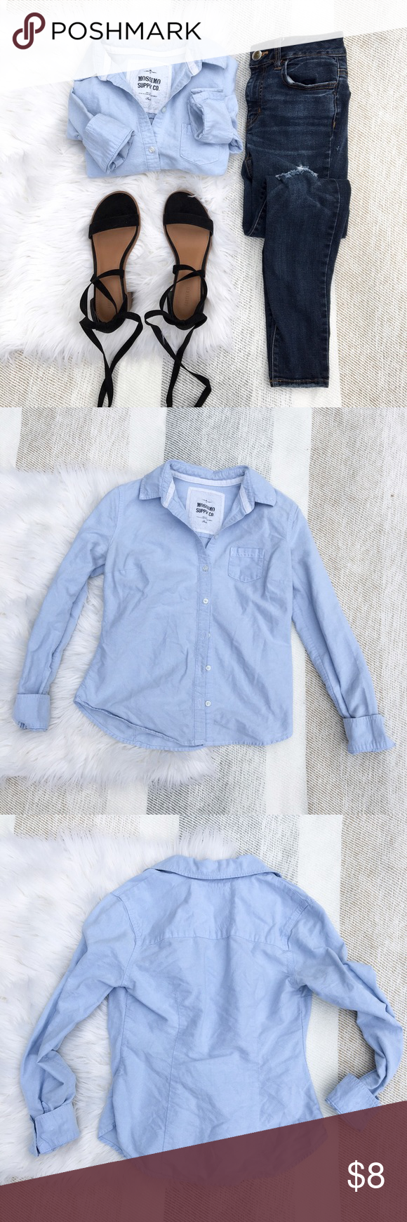 •Blue Button Down Long Sleeve Shirt• Gently worn, long sleeve button down shirt. Light weight material. Features small front chest pocket. Fitted silhouette. 100% cotton.   •color: light blue •true to size  {junior size small, fits me perfectly. I typically wear a 00P or XXSP from J. Crew, as a size reference}  •no trades(comments politely ignored) •bundle to save Mossimo Supply Co Tops Button Down Shirts