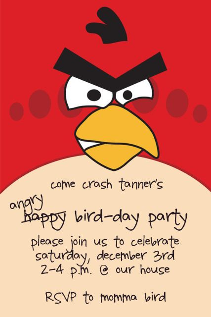 Angry Birds Birthday Invitation Bird