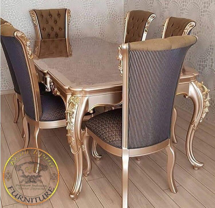 Satu Set Meja Makan Classic Jati Jepara Meja makan