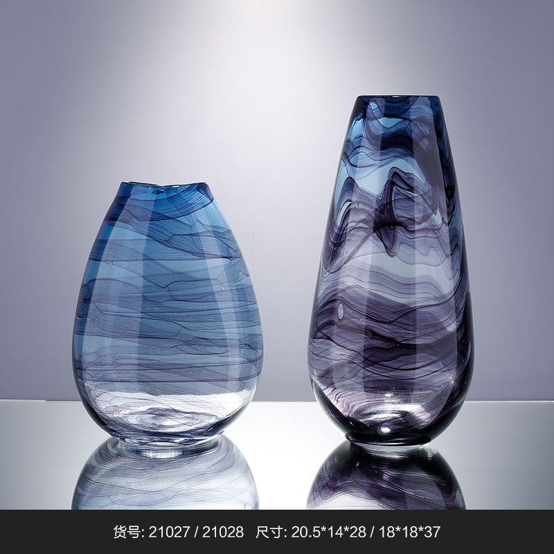 Handblown Wholesale Blue Cheap Colored Glass Vases For Home