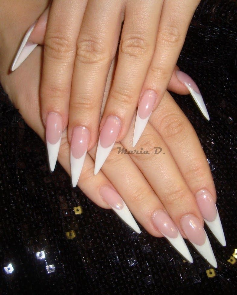 A Point To The Classic French Red Stiletto Nails White Stiletto