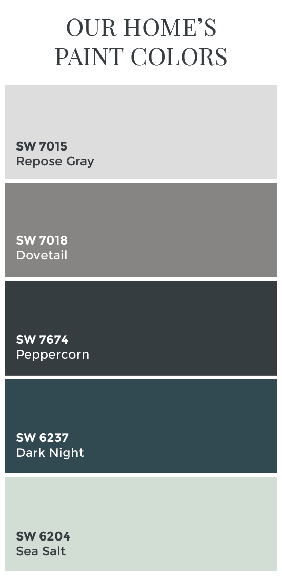 Paint Colors Sherwin Williams Dovetail Peppercorn Dark Night Sea Salt Color Schemes
