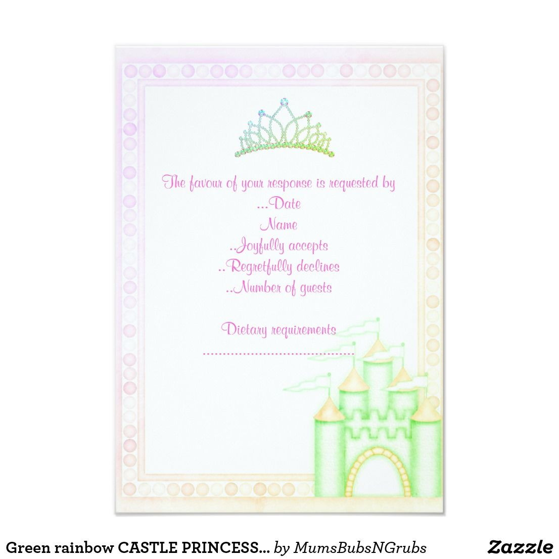 Green rainbow CASTLE PRINCESS BIRTHDAY PARTY RSVP | Princess party ...