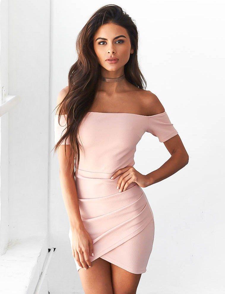 Fashion Off Shoulder Pure Color Bodycon Short Sleeve | Moda ...