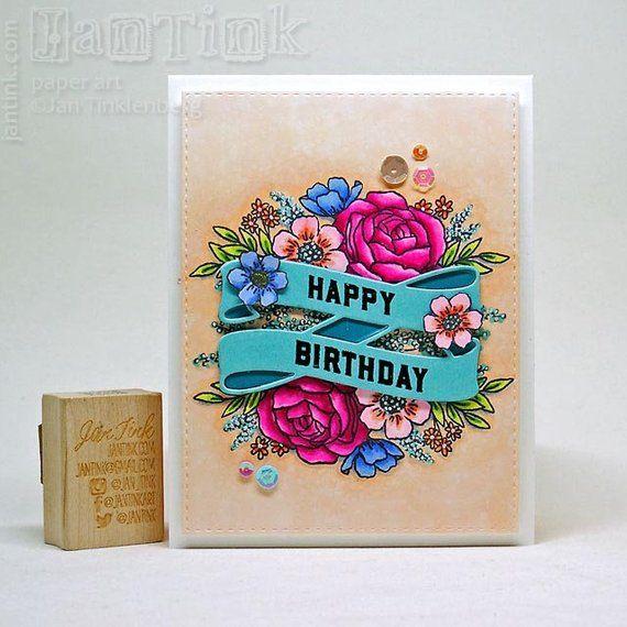 Happy Birthday Beautiful Floral Fancy Greeting Card Handmade
