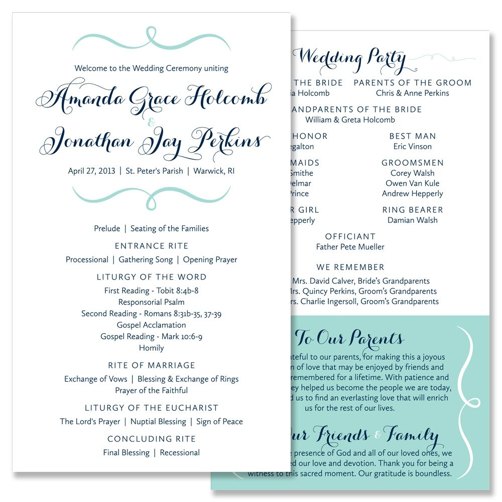 Ceremony Program Wedding Invitations