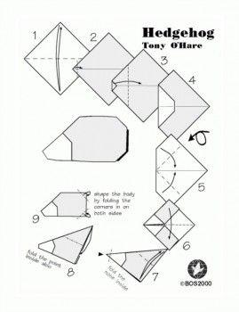 Схема складывания оригами Простой ёжик по схеме Tony O'Hare