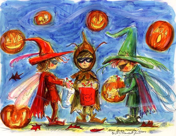 """""""More Candy Than You!"""" Three Halloween fairies compare their haul of candy on Halloween night! Copyright John Randall York"""