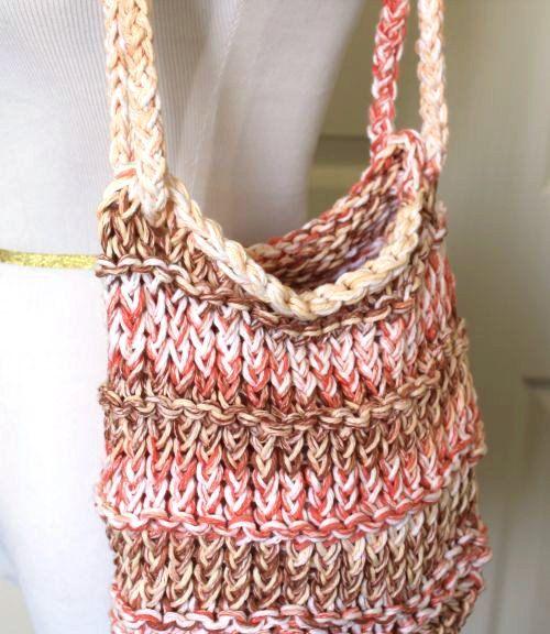 Loom Knit Tote Bag Peach Brown Cream Crochet Pinterest Loom