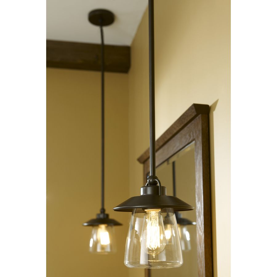 Shop allen + roth Bristow 6.87-in W Mission Bronze Mini Pendant Light with  Clear - Shop Allen + Roth Bristow 6.87-in W Mission Bronze Mini Pendant