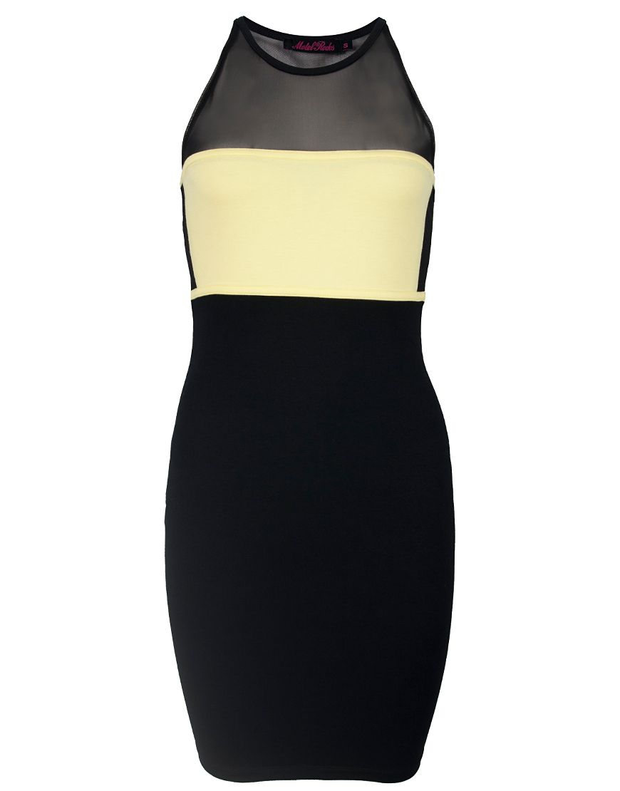 Motel kriss contrast panel bodycon dress in black and citrus
