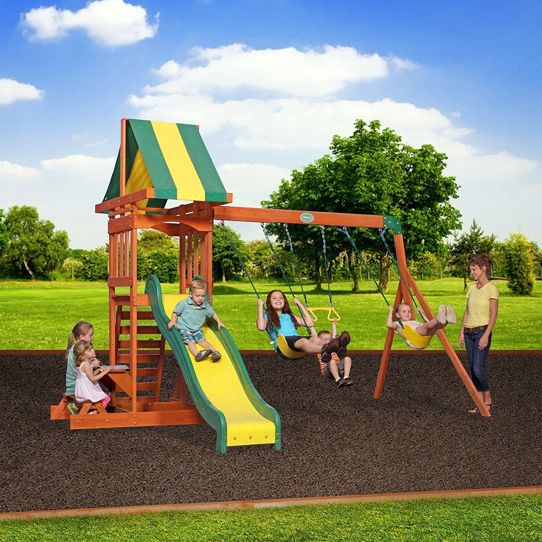 Wood playset swing set childrenus garden playhouse slide climbing