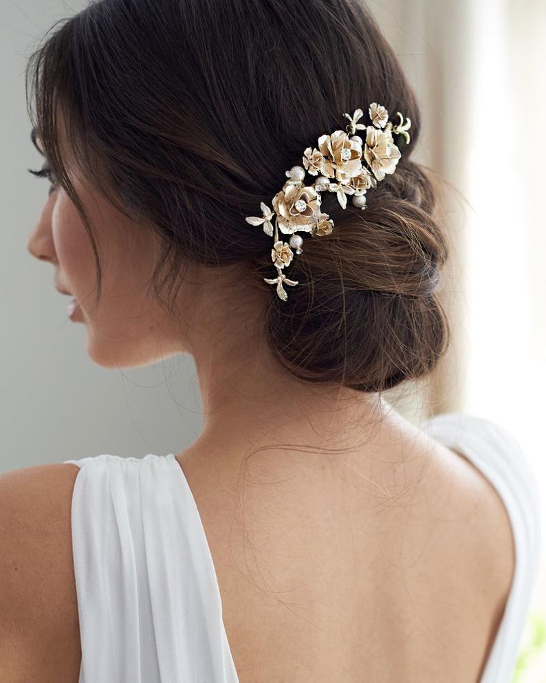 floral bridal hair clip, pearl hair clip, silver wedding