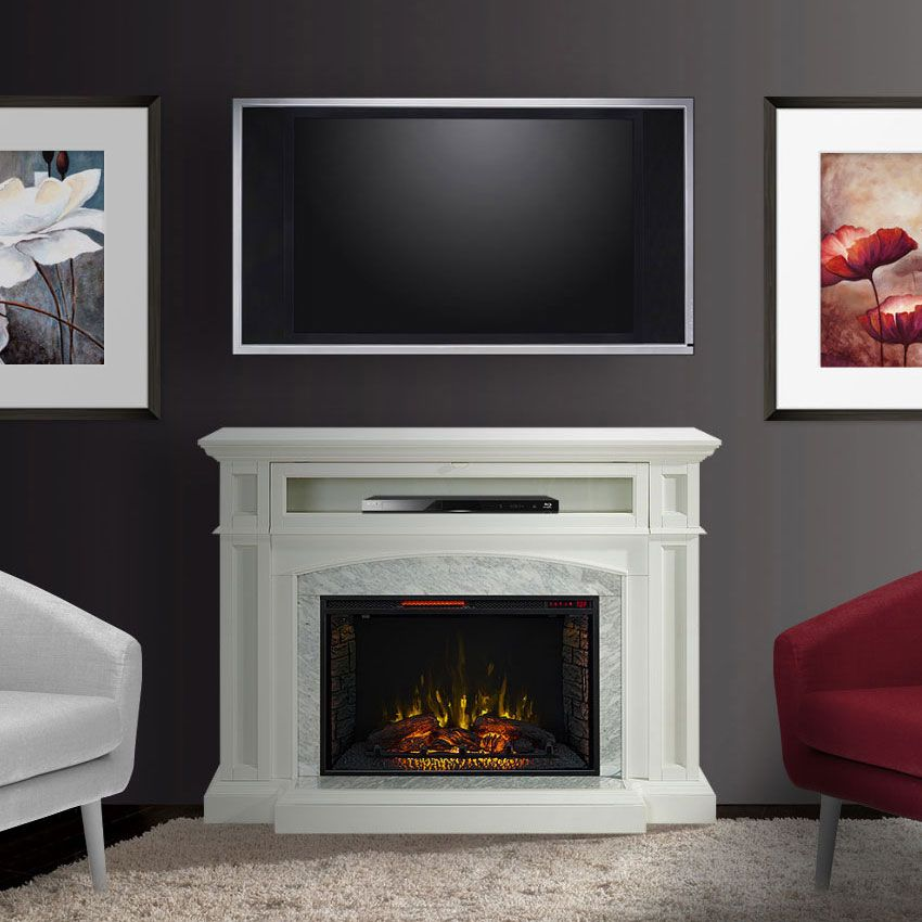 Drew Infrared Electric Fireplace Tv Stand In White Cs 33wm1100