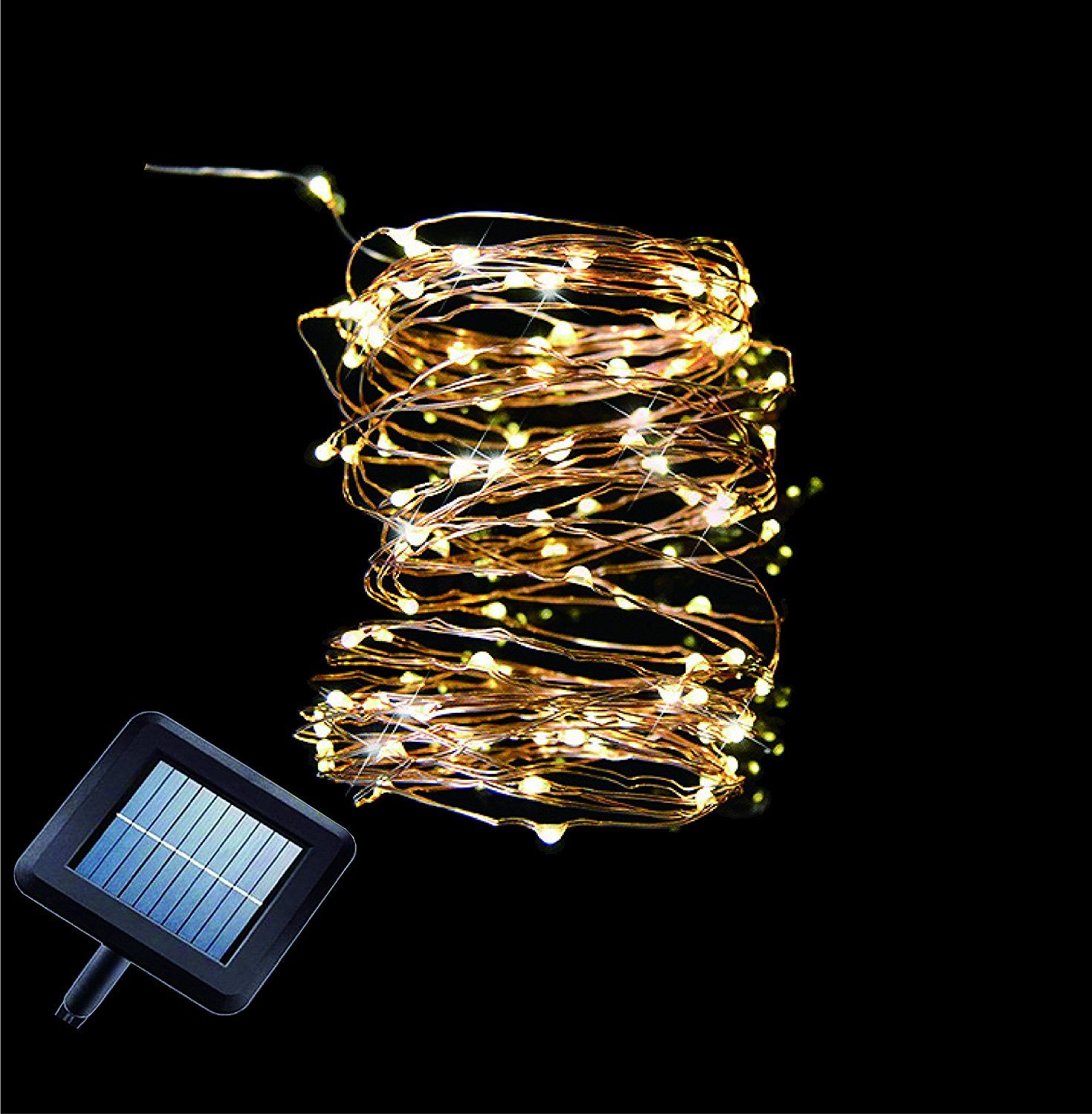 Solar lights outdoor String Lights - Led Christmas Lights, 33 ft Copper Wire, 100 LEDs solar ...