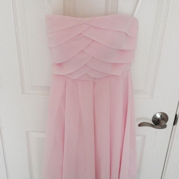 Pleated cocktail dress Ballet pink with origami pleats. Hits at the knee. Chiffon. So pretty and never worn! Dresses
