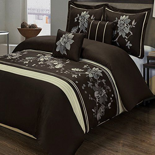 5pc Modern Floral Chocolate Brown Cream Embroidered Duvet Cover Set King Chocolate Brown Bedding Men Be Duvet Cover Sets Brown Bed Accent Pillows Living Room