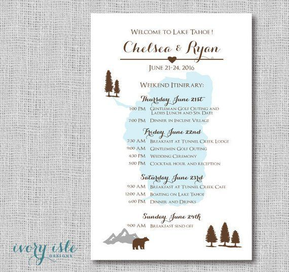 Lake Tahoe - Wedding Weekend Itinerary Card - Destination Wedding - Mountain Weekend Event Itinerary - Itinerary Card - Wedding Itinerary,  #Card #Destination #destinationweddingwelcomebagsmountains #Event #itinerary #Lake #Mountain #Tahoe #Wedding #Weekend