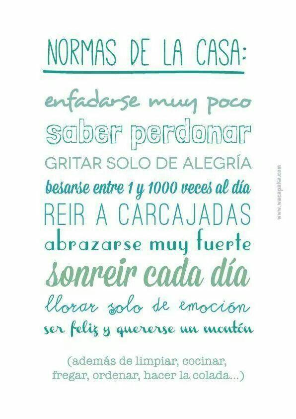 Normas De La Casa Infografia Frases Bonitas Frases Chulas