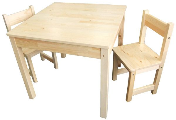 Wooden Childrens Table with 2 Chairs - Square $66.19