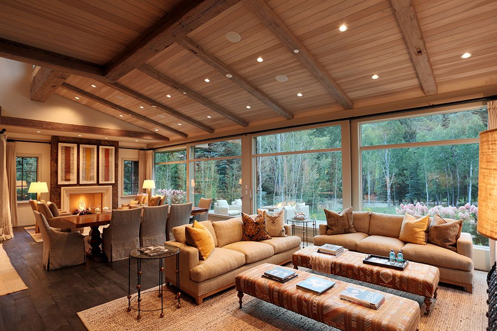 This Great Room With A Solid Oak Dining Table And Hip Couches From Pleasing Aspen Home Dining Room Furniture Design Inspiration