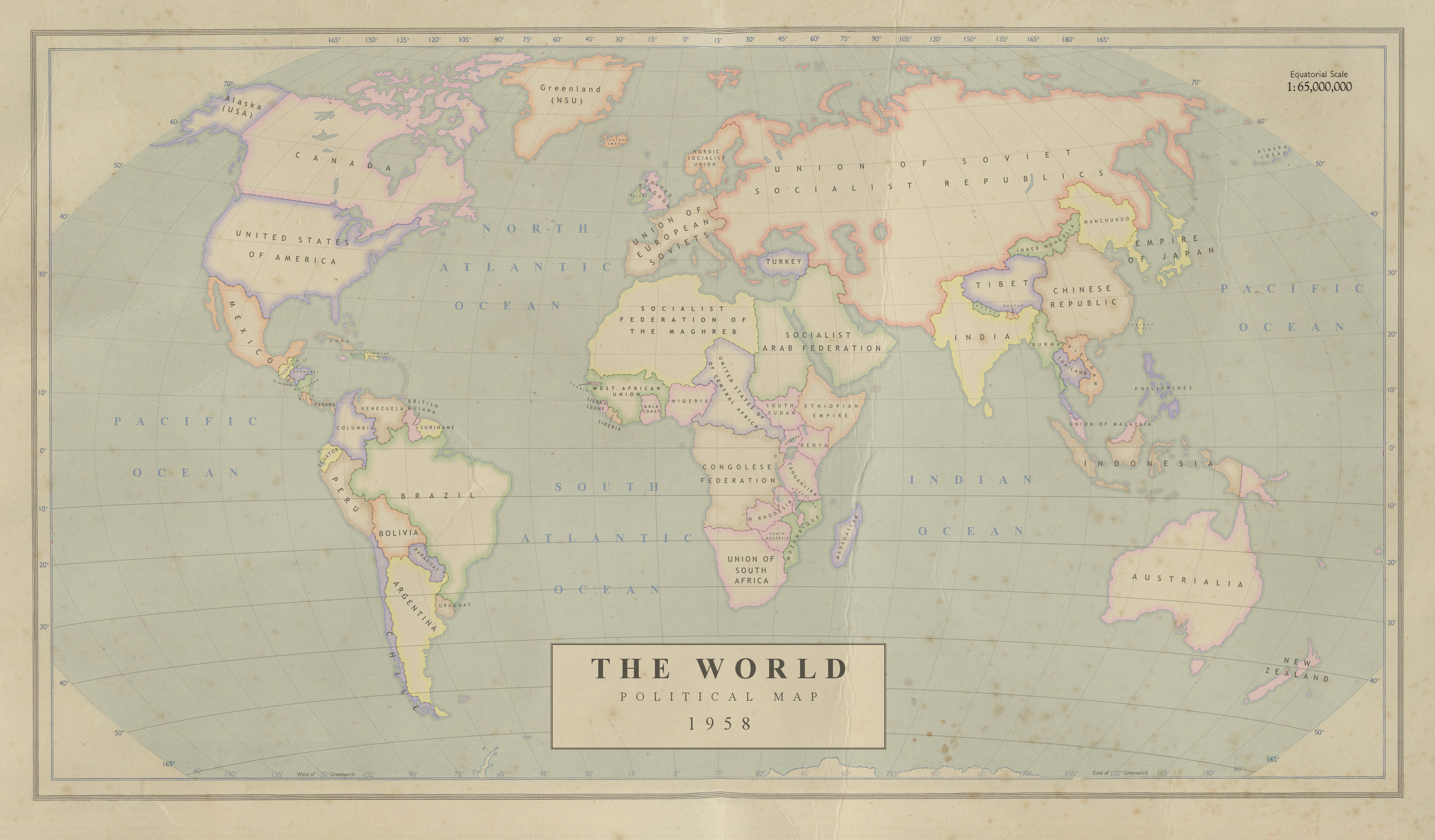 The World in 1958 Political Map
