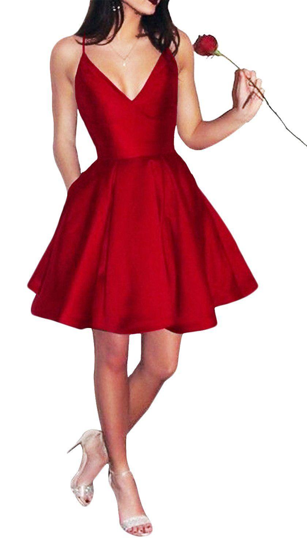 Yangprom short spaghetti straps vneck aline homecoming dress with