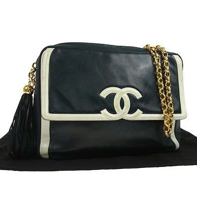 Auth-CHANEL-CC-Logo-Chain-Fringe-Shoulder-Bag-Navy-White-Leather-Vintage-LP10641